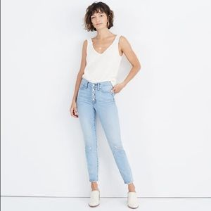 "Madewell 9"" high-rise skinny crop blue jeans"